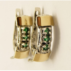 Cercei argint si aur 9k -30914 green quartz