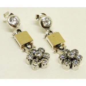 Cercei argint si aur 14k - E1874 zircon
