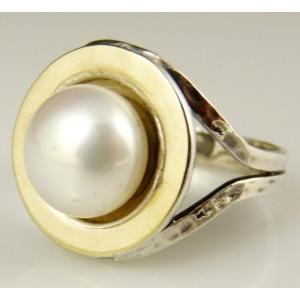 Inel argint si aur 14k perla -102608