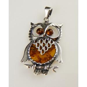 Pandantiv argint chihlimbar- bufnita- P428