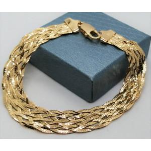 Bratara argint placata cu aur impletita in 8 lanturi -CTBTBP6LI8F35- B