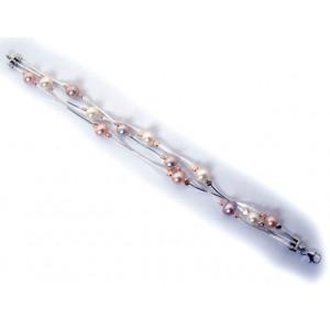 Bratara argint si goldfilled-trei randuri-perle BP16