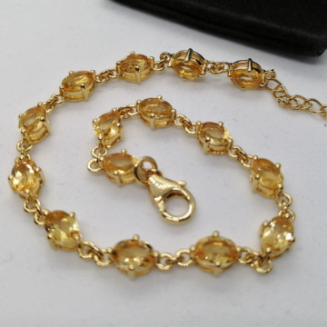 Bratara Nicole -argint placat cu aur si citrin VB032687