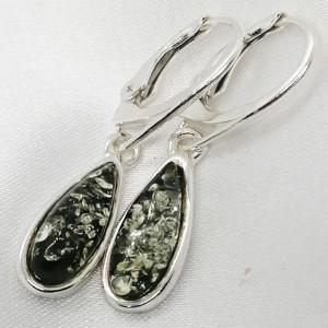 Cercei argint Chihlimbar VERDE -E4369A