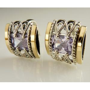 Cercei argint  si aur 9 k -30001 lavander quartz