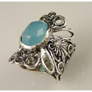 Inel argint - A11807 blue ocean quartz
