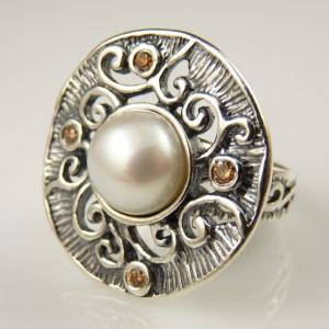 Inel argint perla si champagne quartz R1501