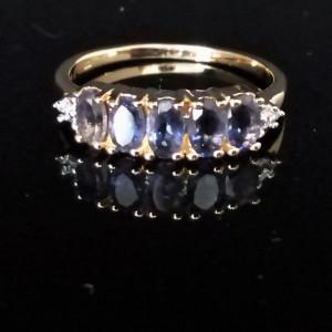 Inel argint placat cu aur galben -VR018333-iolit