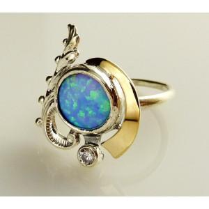 Inel argint si aur 9 k-10367 opal