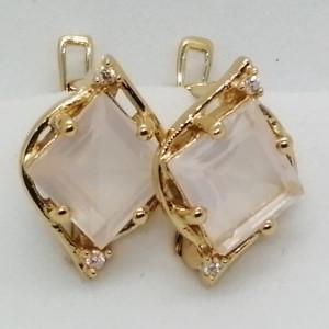 Liana -Cercei argint placat cu aur si cuart roz -VE019494