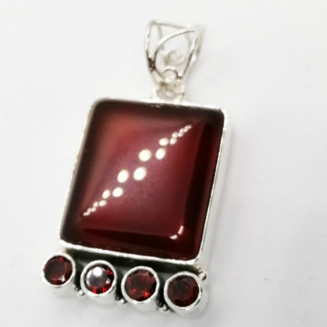 Pandantiv argint - P45-2 onix rosu