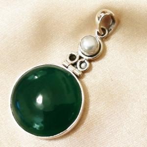 Pandantiv argint- P9- onix verde