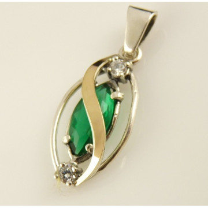 Pandantiv argint si aur 9 k -20276 green quartz