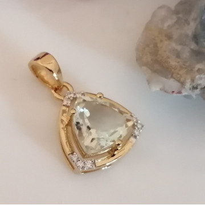 Pandantiv Medeea-argint placat cu aur galben - VP016161 Ametist verde