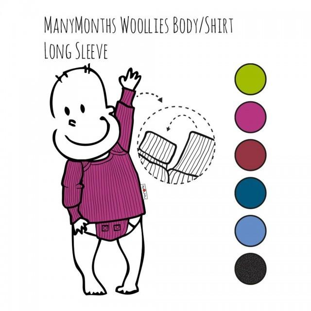 Body/Bluza (2 in 1) ManyMonths din lână merinos - Provence Blue