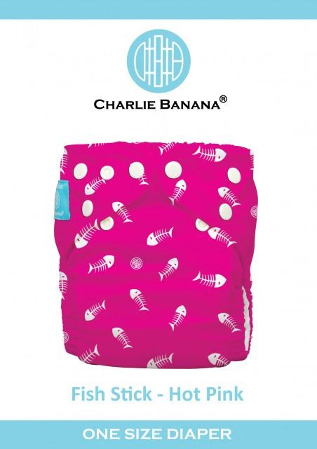 Scutec textil refolosibil Charlie Banana - Fish Stick Hot Pink thumbnail