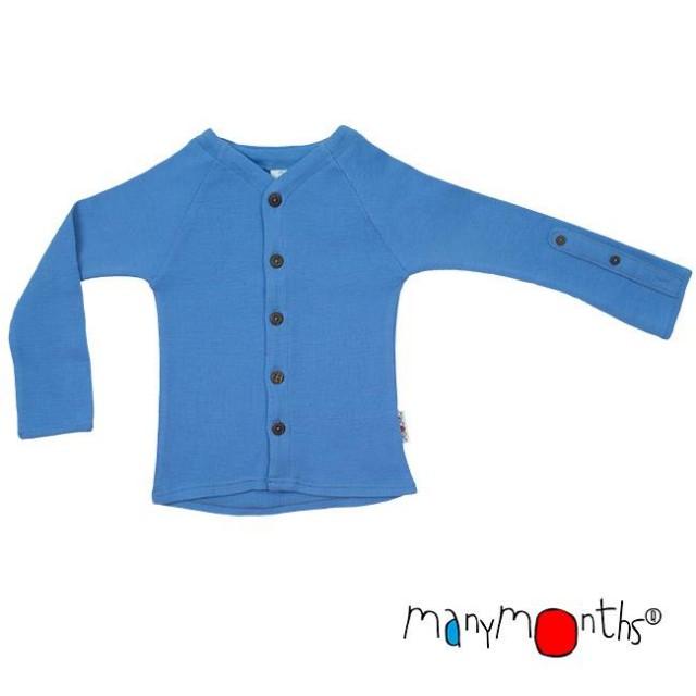 Cardigan din lana merinos ManyMonths, Provence Blue