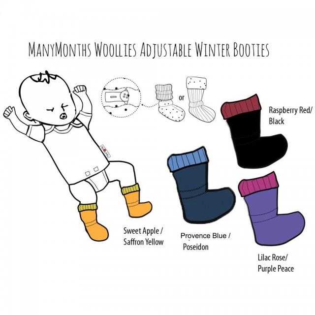 Botosei ManyMonths Winter Booties pt babywearing - Lilac Rose/Purple Peace
