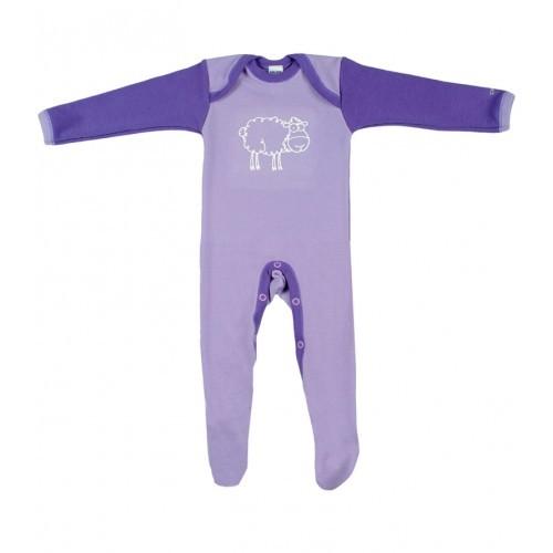 Salopetă – pijama overall mov din lână Merinos organică, Dilling – model nou