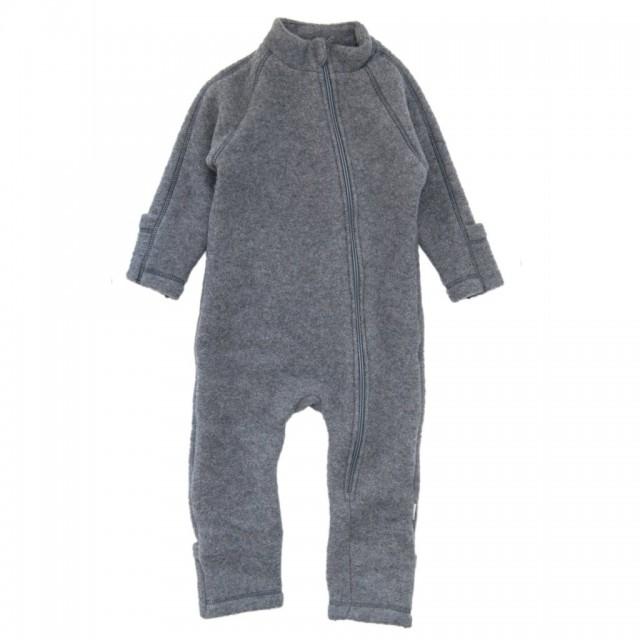 Overall Mikk-line cu manusi si botosei din lână merinos tip fleece – Melange grey