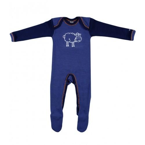 Salopetă – pijama overall bleumarin din lână Merinos organică, Dilling – model nou