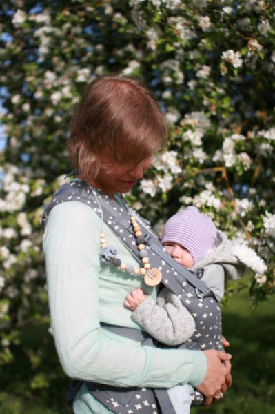 Poze Colier babywearing si alaptare - Grey & Charcoal Flower Mama, Ienupar - Kangaroo Care