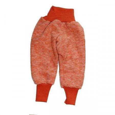 Pantaloni din lana organica tip fleece, Cosilana - Portocaliu