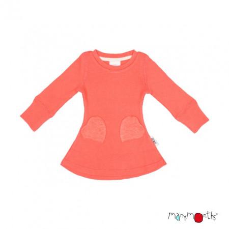 Rochie ManyMonths Heart Pockets lână merinos - Precious Coral