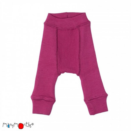Pantaloni dublati Manymonths lână merinos - Frosted Berry