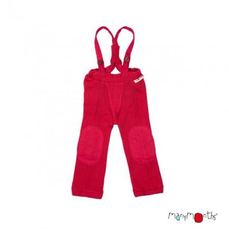Pantaloni ManyMonths Hazel cu bretele lână merinos - Cranberry Nectar