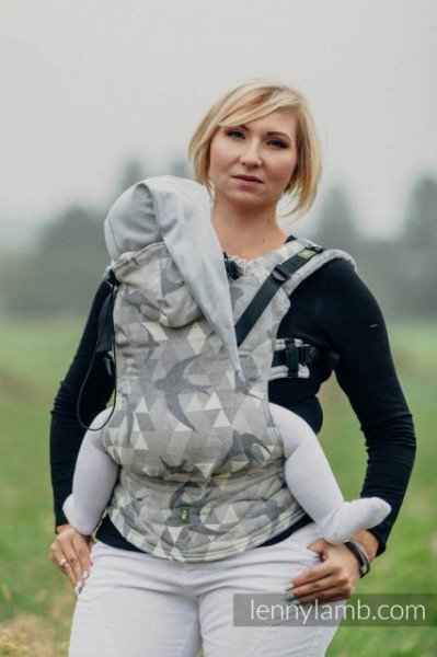 Poze LennyLamb SSC Toddler  Size, Full Wrap Conversion - SWALLOWS GREY(bumbac, in si matase) (Second Generation)