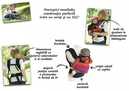 Poze Marsupiu SSC Emeibaby, Baby Size - Full Gray (bumbac organic) (+ CADOU Colier multifunctional din silicon)