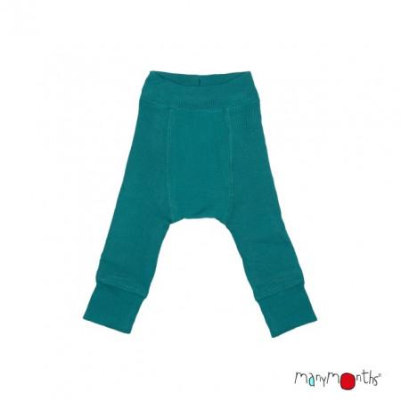 Pantaloni dublati Manymonths lână merinos - Ocean Wave