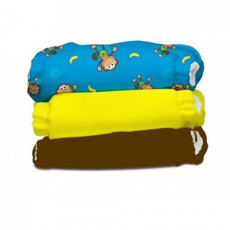 Poze Set economic 3 scutece textile refolosibile Charlie Banana - Monkey Doo (Transport Gratuit)