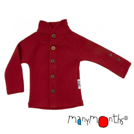 Poze Cardigan ManyMonths Unique din lână merinos - Raspberry Red