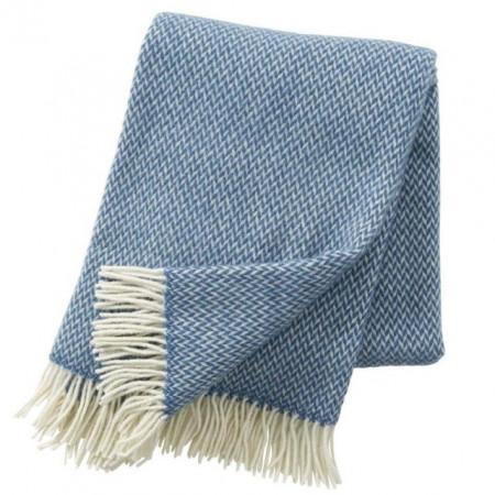 Pled Klippan lână merinos - Pulse china blue