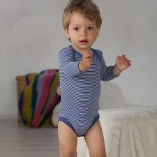 Body Cosilana din lână merinos și mătase - Dungi albastre