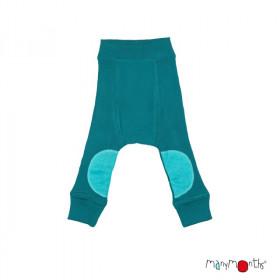 Pantaloni dublati Manymonths Patches lână merinos - Ocean Wave