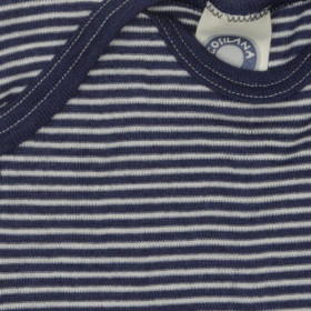 Body Cosilana cu mânecă scurtă lână merinos si mătase - Dungi albastre