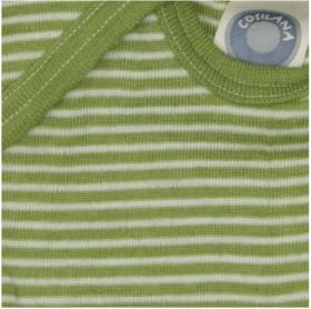Body Cosilana cu mânecă scurtă lână merinos si mătase - Dungi verzi