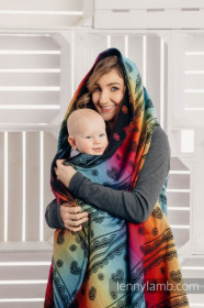 Cardigan lung/protectie babywearing pentru vreme rece, Lenny lamb - RAINBOW LACE DARK