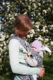 Colier babywearing si alaptare - Grey & Charcoal Flower Mama, Ienupar - Kangaroo Care