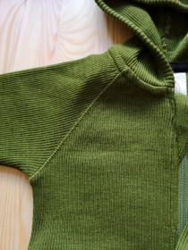 Hoodie ManyMonths lână merinos - Garden Moss Green