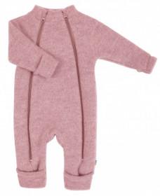 Overall Joha din lana merinos fleece, cu manusi si botosei - Pink