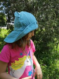 Pălărie ajustabilă ManyMonths Teddy Bear cânepă și bumbac - Milky Blue