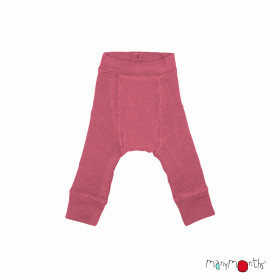 Pantaloni dublați Manymonths lână merinos - Earth Red