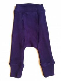 Pantaloni dublati Manymonths lână merinos - Majestic Plum, marime 3-6/9 luni