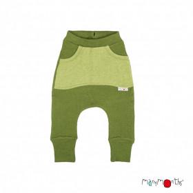 Pantaloni ManyMonths Kangaroo lână merinos - Garden Moss Green