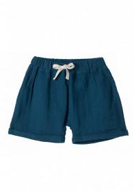 Pantaloni scurti din muselină Organic by Feldman - Play of Colors Petrol-Blue