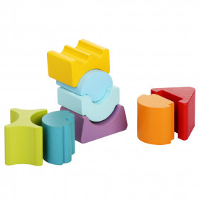 Set constructii, Turn cu acoperis rosu - Jucarie din lemn, Cubika